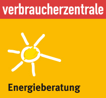 Energieberatungs-Logo der Verbraucherzentralen: Eine weiße Sonne auf gelbem Grund