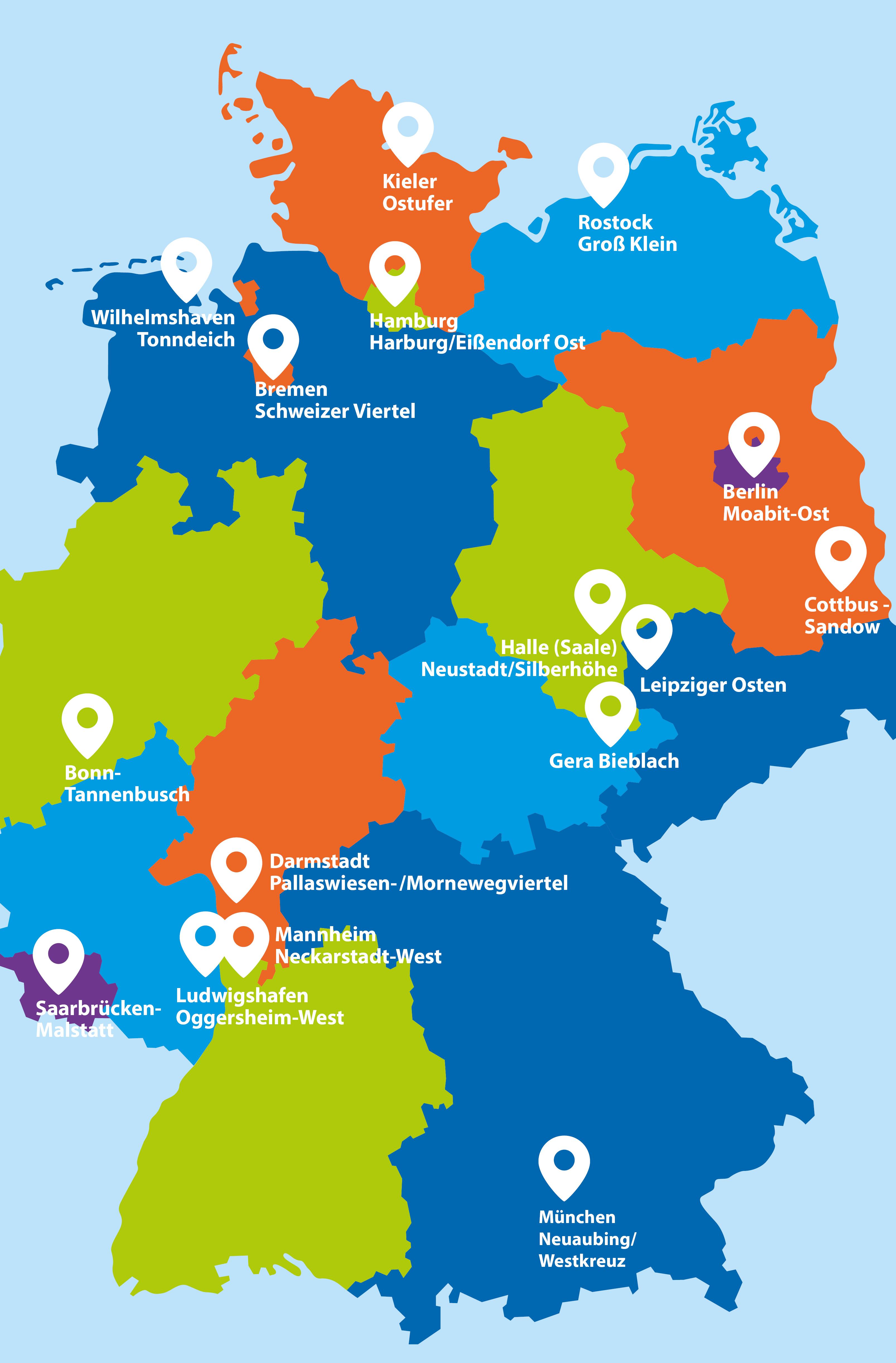 Eine Deutschland-Karte zeigt die Standorte der Quartiere in den Bundesländern.