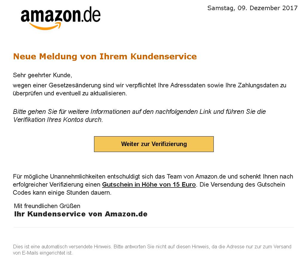 "Phishing-Mail Amazon 11.12.2017 ""Verifizierung Ihres Amazon Kontos notwendig"""