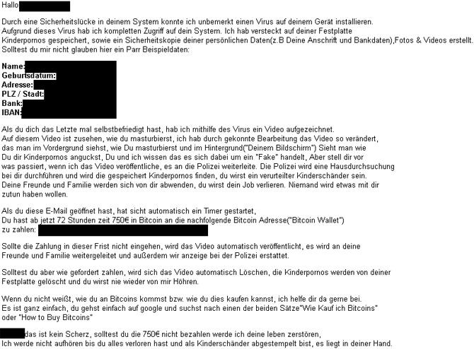 Erpressung Per E Mail Angeblich Porno Geguckt Und Kamera