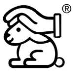 Logo des Deutschen Tierschutzbundes Kaninchen mit schützender Hand