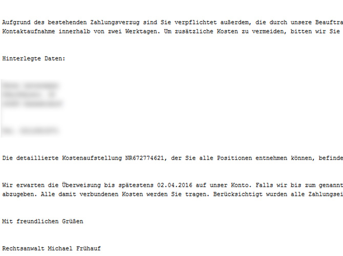 Screenshot E-Mail mit Fake-Rechnung