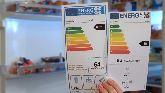 Новая и старая этикетка энергоэффективности